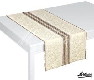"Rectangular stain resistant brown cream table runner overlay 40x160cm (16""x 63"")"