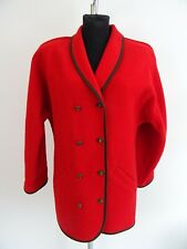 Bogner Vintage Lange Damen Trachtenjacke Janker Gr. 40 Rot 100% Wolle Bouclé