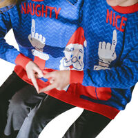 Christmas Novelty Two Person Sweater Unisex Couples Pullover  Blouse Top Shirt
