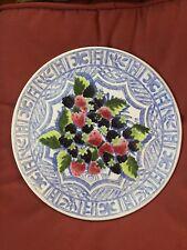 Gien Oiseau Bleu Cake Platter or Chop Platter - Berries - Made in France