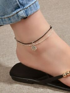 Black Cord Silver Chain Double layer Sunflower Charm String Anklet Bracelet Gift