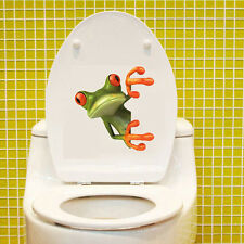 Crazy Green Frog Bathroom Toilet Seat Cover Sticker Easy to Apply Home Decor