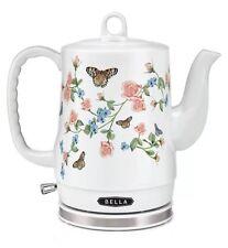 BELLA Electric Ceramic Tea Kettle with detachable base-WHITE FLORAL BUTTERFLIES