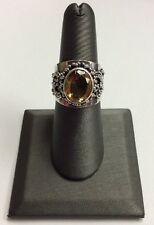 REAL STERLING SILVER Women's Vintage Yellow Topaz Band RING SZ 7 / 8.4g