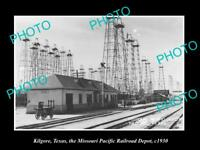OLD LARGE HISTORIC PHOTO OF KILGORE TEXAS, THE RAILROAD DEPOT STATION c1930