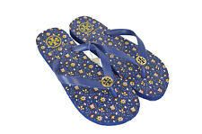 Tory Burch Flip Flops Thong Sandals Blue Floral Pansy 8