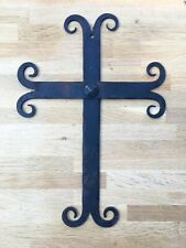More details for hand wrought iron gothic curled cross wall crucifix holy cross blacksmith made