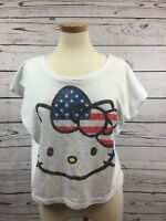 Hello Kitty Womens Cropped White T-shirt US Flag in Bow