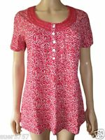 New DASH Pink Floral Jersey Short Sleeve Casual Top Scoop Neck Size 10 - 22