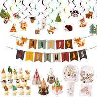 Woodland Animals Safari 1st Birthday Party Supplies Tableware Banner Cake Topper