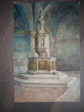 DESSIN D'ARCHITECTURE AUTHENTIQUE 1880 EGLISE