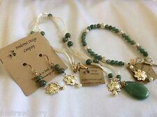 Handcrafted silver tone metal mesh necklace Green Jade MOP earrings bracelet set