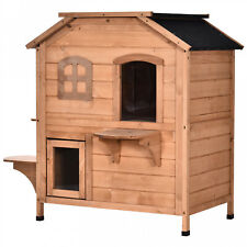 Xl Wooden Cat House 2 Story Raised Indoor Outdoor Pet Dog Cottage Open Roof New