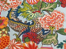 Schumacher Fabric 'CHIANG MAI DRAGON' 1 METRE Aquamarine INDOOR/OUTDOOR