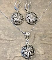 Silver filigree long necklace and earrings set Hypoallergenic Stainless Steel