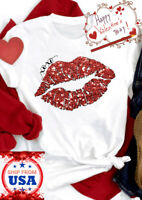 3D Print Red Lips Kiss Xo Xo Love Graphic Casual Short Sleeves Cute T Shirt Tee