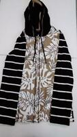 Susan Graver Weekend Printed French Terry Zip Front Hooded Jacket (Tan, 2XS)