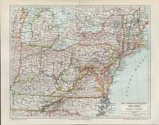 Landkarte map 1897: USA. Die Nordoststaaten der Union. Amerika Ohio Virginia Ind