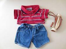 Build a Bear CLOTHES Golf stripe Polo Shirt Jeans  Golf Bag   ++++++  P39