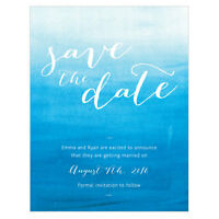 48 Aqueous Color Wash Personalized Wedding Save The Date Cards