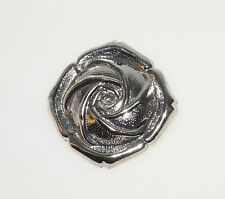 "Vintage Rose Embossed Silver Tone Flower 1.75"" Scarf Clip"