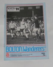 Bolton Wanderers -v- Cambridge United 1982-1983