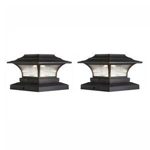 HAMPTON BAY Solar 4 in. x 4 in. Bronze Outdoor LED Deck Post Light (2-Pack)