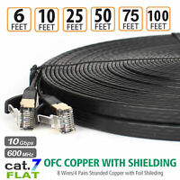 Long 10Gbps Ethernet Cat7 RJ45 Lan UTP Network Ultra Flat Cable Patch Cord