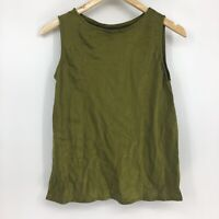 Eileen Fisher Women's Size Small 100% Silk Army Green Tank Top Sleeveless
