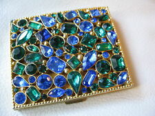 Vintage Gold Tone Green Glue Jewel Rhinestone Compact MARHILL 5TH AVE NY