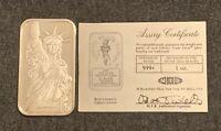 Engelhard 1986 Liberty Trade Silver Bar 1 Oz .999 Fine Silver With COA!
