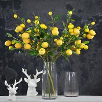 Artificial Lemon Branch Stem Lemon Fruit Plants Fake Home Garden Decoration New