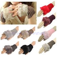 Girl Ladies Fashion Fingerless Fur Winter Warm Wrist Knitted Wool Mitten Gloves