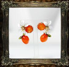 Boucles d`Oreilles Clous Doré Fleur Perle Orange Email Blanc Leger L2