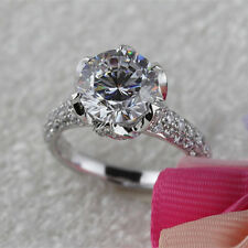 2.5 CT Round Cut D/VS2 Diamond Engagement Ring 18k White Gold Finish 8 sz