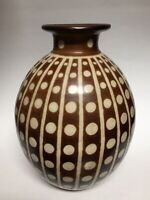 """Large Handpainted Ceramic Accent Vase Brown with White Dots and Lines 11.75"""""""