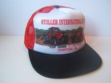 Vintage Stoller International Tractor Hat Red Black White Snapback Trucker Cap