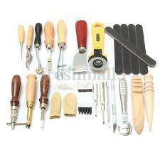 24pcs Leather Working Tool Kit Punch Hand Sewing Stitching Carving Groover Craft