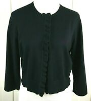 Cable And Gauge Cardigan Women's L Black Long Sleeve Sweater Ruffle Trim Cropped