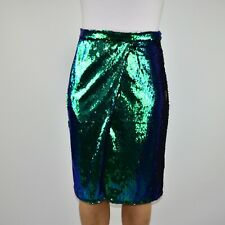 River Island Pencil Green Blue Sequin Skirt Holiday Mermaid Party Size 10 AH
