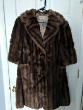 Vintage Fur Muskrat Long Coat Stripes Fur Button