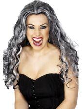 Rinascimento Vampira Parrucca Lunghi Ricci Nero E Grigio Vestito Per Halloween