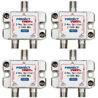 LOT OF 4 PERFECT VISION PWR PASSING 2-WAY SPLITTERS | PV23302- 2-2300 MHZ NEW!
