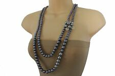 Women Metallic Blue Gray Imitation Pearl Beads Necklace Flower Charms 2 Strands