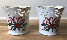 2 Lenox Winter Greetings Pierced Votive Candle Holders Catherine McClung