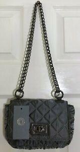 New Women Quilted Chain Satin Bag Grey Shoulder Crossbody handbag Messenger BNT