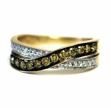 14k yellow gold .56ct canary diamond crossover cluster wedding band ring 4.4g