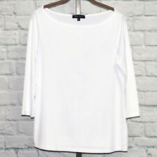 Slinky Brand 3/4 Sleeve Boatneck Office or Casual Top Sz S (White) #00352