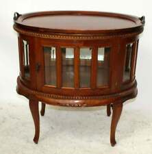 "Mahogany Oval Chocolate Vitrine Curio Table with Tray 30"" h x 28 1/2"" w x 19"" d"