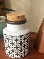 Mid Century Modern CANISTER JAR BROWN White Knots CORK LID JAPAN Danish Design